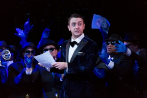 After becoming a London sensation for his carousing and celebrity marriage to Baba the Turk, Tom Rakewell (Ben Bliss) finds himself a paparazzi sensation in Boston Lyric Opera's new production of Stravinsky's THE RAKES PROGRESS, running through March 19 at the Emerson Majestic Theater
