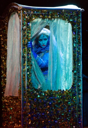 Sideshow sensation Baba the Turk (Heather Johnson) awaits her big press moment in Boston Lyric Opera's new production of Stravinsky's THE RAKES PROGRESS, running through March 19 at the Emerson Majestic Theater