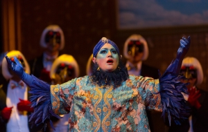 Baba the Turk (Heather Johnson) takes exception to the sale of hers and Rakewell's possessions in Boston Lyric Opera's new production of Stravinsky's THE RAKES PROGRESS, running through March 19 at the Emerson Majestic Theater