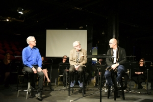 Conductor David Angus, stage director David Schweizer, and composer Julian Grant (L-R) engage in an audience talkback.