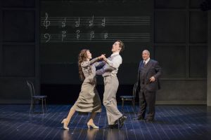 As Arnold Schoenberg (Omar Ebrahim, r.) looks on during a music lesson, his music students (l.-r. Sarah Womble and Jesse Darden) break into a fanciful dance in Boston Lyric Opera's World Premiere SCHOENBERG IN HOLLYWOOD by composer Tod Machover and librettist Simon Robson.