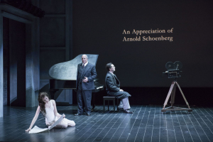 (l.-r.) Sarah Womble, Omar Ebrahim (as Arnold Schoenberg) and Jesse Darden reflect on the composer's life in Boston Lyric Opera's World Premiere SCHOENBERG IN HOLLYWOOD by composer Tod Machover and librettist Simon Robson.