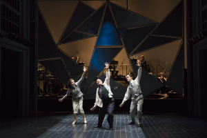 (l.-r.) Sarah Womble, Omar Ebrahim and Jesse Darden in Boston Lyric Opera's World Premiere SCHOENBERG IN HOLLYWOOD by composer Tod Machover and librettist Simon Robson.