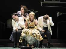 """Heather Johnson as """"Dinah"""" (rear) scolds her children (l.-r.) Neal Ferreira, Mara Bonde and Vincent Turregano in Boston Lyric Opera's TROUBLE IN TAHITI/ARIAS AND BARCAROLLES, playing thru May 20.  Tickets www.BLO.org"""