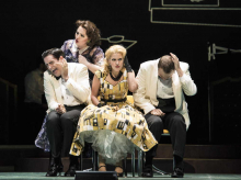 "Heather Johnson as ""Dinah"" (rear) scolds her children (l.-r.) Neal Ferreira, Mara Bonde and Vincent Turregano in Boston Lyric Opera's TROUBLE IN TAHITI/ARIAS AND BARCAROLLES, playing thru May 20.  Tickets www.BLO.org"