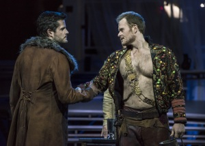 "(L.-r.) Junius (David McFerrin), encourages unity with Tarquinius (Duncan Rock) after a confrontation about the loyalty of their wives and lovers in Boston Lyric Opera's production of ""The Rape of Lucretia"" March 11-17 at Artists for Humanity EpiCenter."