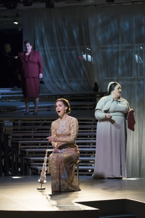 "While men of Rome are off at war, Lucretia (Kelley O'Connor, center) her nurse Bianca (Margaret Lattimore, r.), and the Female Chorus (Antonia Tamer, above) sing of the duties and the emotions of the women left behind in Boston Lyric Opera's production of ""The Rape of Lucretia"" March 11-17 at Artists for Humanity EpiCenter."
