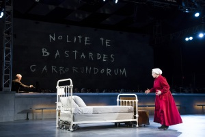 """Offred (Jennifer Johnson Cano) sees her room for the first time in Boston Lyric Opera's production of """"The Handmaid's Tale,"""" running through May 12. BLO.org"""