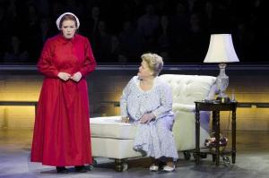 """Offred (Jennifer Johnson Cano) considers an offer from Serena Joy (Maria Zifchak) in Boston Lyric Opera's production of """"The Handmaid's Tale,"""" running through May 12. BLO.org."""