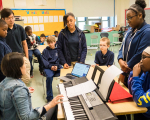 BLO Teaching Artist Patricia Au leads 5th grade BPS students in a composition process, part of the Create Your Own Opera Partnership.