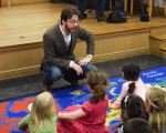 BLO Teaching Artist Brendan Buckley presents opera to young library patrons at a Boston Public Library branch as part of BLO's Artist Classroom Visit: Hansel and Gretel.