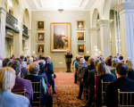 Guest Lecturer Laurence Senelick speaks at a Boston Athenaeum Signature Series event.