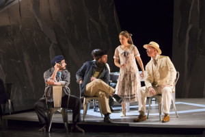 "(l.-r) Jon Jurgens, David McFerrin, Rachele Gilmore, James Demler in Boston Lyric Opera's ""Werther,"" running March 11-20 at the Citi Shubert Theater – Photo: T. Charles Erickson"