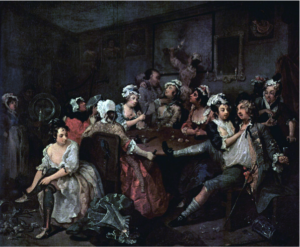 The third painting in the series A Rake's Progress by Hogarth, depicting Tom at a wild brothel.