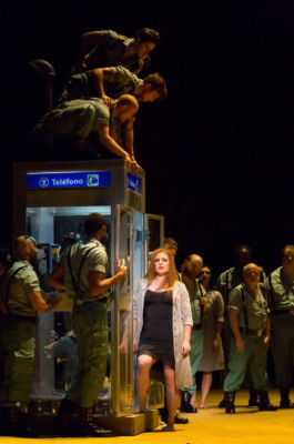 "in Boston Lyric Opera's production of Georges Bizet's ""Carmen"" directed by Calixto Bieito. ""Carmen (Jennifer Johnson Cano) gets some bad news after her shift at the cigarette factory while being surrounded and ogled by soldiers in Boston Lyric Opera's production of Georges Bizet's ""Carmen"" directed by Calixto Bieito. ""Carmen"" opens BLO's 40th Season, at the Boston Opera House through October 2. Photo: T. Charles Erickson"