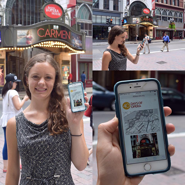 Intern Lucy Caplan shows off the online version of the BLO Opera History Walking Tour.
