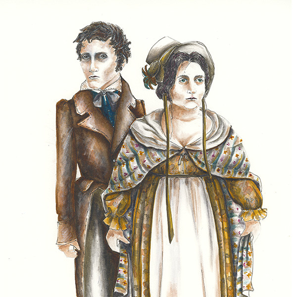 Costume renderings for the characters of Hare and Margaret by designer Nancy Leary.