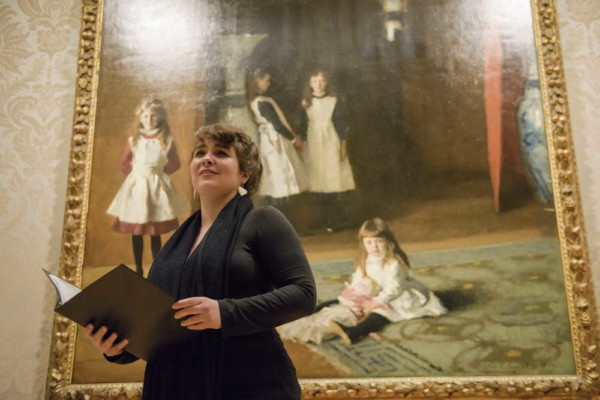 Mezzo-soprano Heather Gallagher performs as part of the 2018 Opera Promenade Concert at the Museum of Fine Arts, in front of one of MFA's signature pieces, The Daughters of Edward Darley Boit by John Singer Sargent. Liza Voll Photography