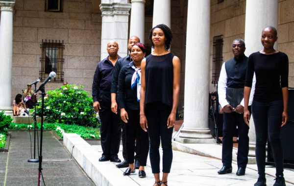 "The artists from ""Crossing the Line to Freedom: A Musical Narrative"" presented in collaboration with Castle of Our Skins and performed at the Boston Public Library as part of their Concerts in the Courtyard series. photo by Todd McNeel"