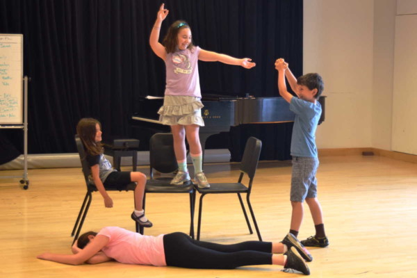 Student participants in BLO's summer Opera Creation Boot Camp play with creating theatrical tableaux. Photo: BLO staff