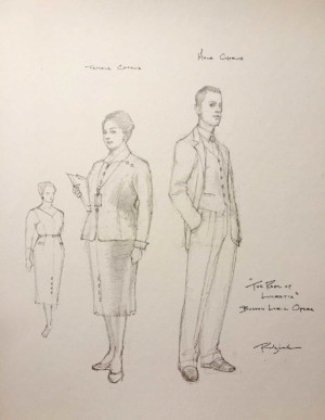 costume design sketch for the chorus members in Boston Lyric Opera's production of THE RAPE OF LUCRETIA, March 11-17, 2019