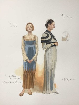 costume design sketches for Lucia & Bianca in Boston Lyric Opera's production of THE RAPE OF LUCRETIA, March 11-17, 2019
