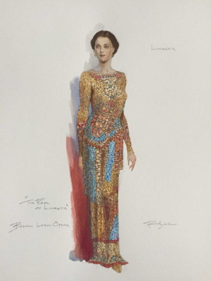 Lucretia sketch by Costume Designer Robert Perdziola
