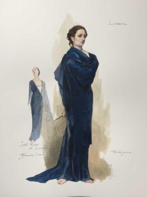 costume design sketch for Lucretia (in the finale) in Boston Lyric Opera's production of THE RAPE OF LUCRETIA, March 11-17, 2019