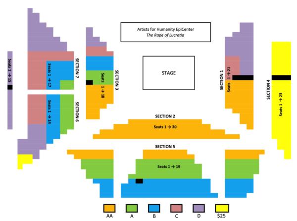 Seating chart (non-Sunday) for THE RAPE OF LUCRETIA, Boston Lyric Opera, MAR 11-17, 2019