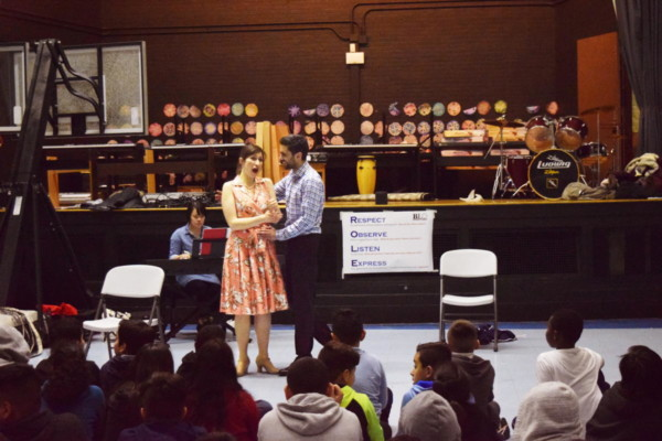 Felicia Gavilanes, mezzo-soprano, and Omar Najmi, tenor, performed in a one-hour, interactive adaptation of The Barber of Seville for youth across greater Boston in schools and public libraries. Photo: BLO staff.