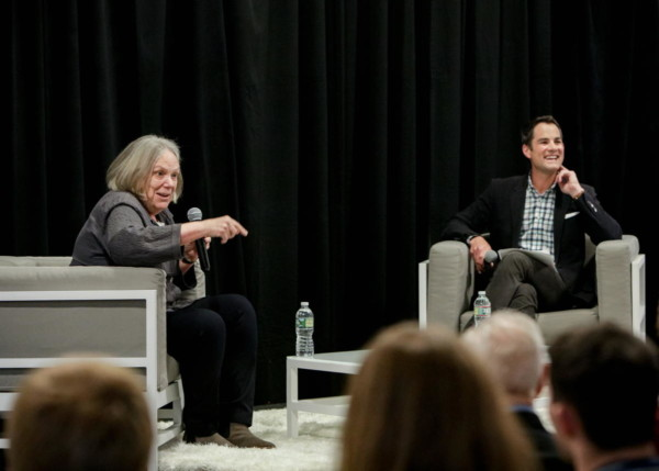 Anne Bogart, stage director, joined Jared Bowen of WGBH in conversation at District Hall for a BLO Signature Series event to speak about her career in theater and opera and her approach to The Handmaid's Tale. Photo: Dan Busler.