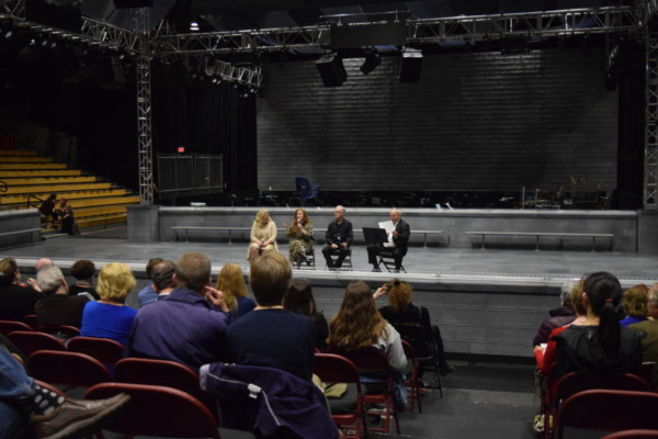 From left: Soprano Caroline Worra, mezzo-soprano Jennifer Johnson Cano, and conductor David Angus participate in an audience Talkback after a performance of The Handmaid's Tale, moderated by theater critic Don Aucoin of The Boston Globe. Photo: BLO staff/Madison Florence.
