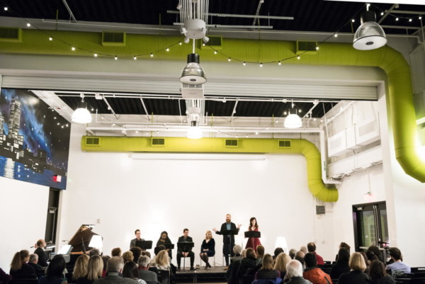 "Artists and actors performed in a BLO Signature Series event entitled ""Reclaiming Lucretia: Responding to Sexual Violence through Music, Poetry, and Story"" at District Hall, led by director Paula Plum. Photo: Liza Voll Photography."