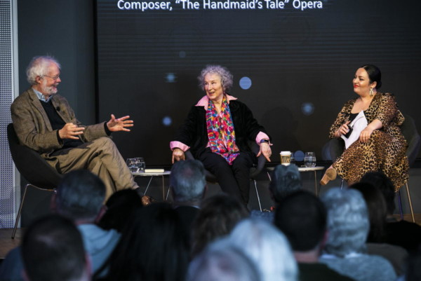 Poul Ruders, composer, and author Margaret Atwood, author of The Handmaid's Tale, gathered at the WBUR CitySpace in conversation with Maria Garcia about the iconic novel's transition to opera. Photo: Erin Clark.